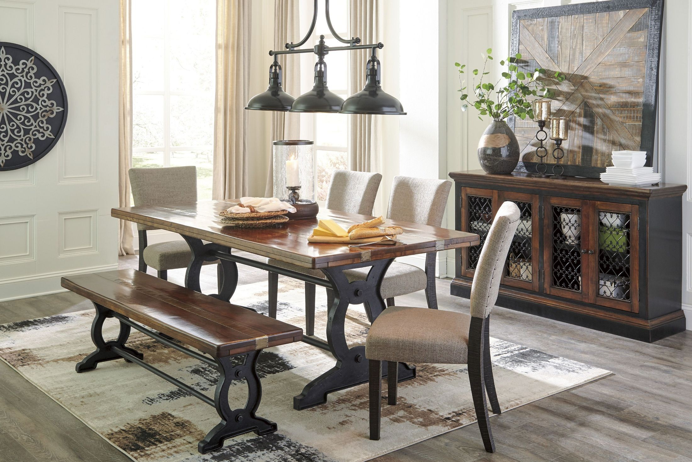 Zurani Brown And Black Rectangular Dining Room Set From