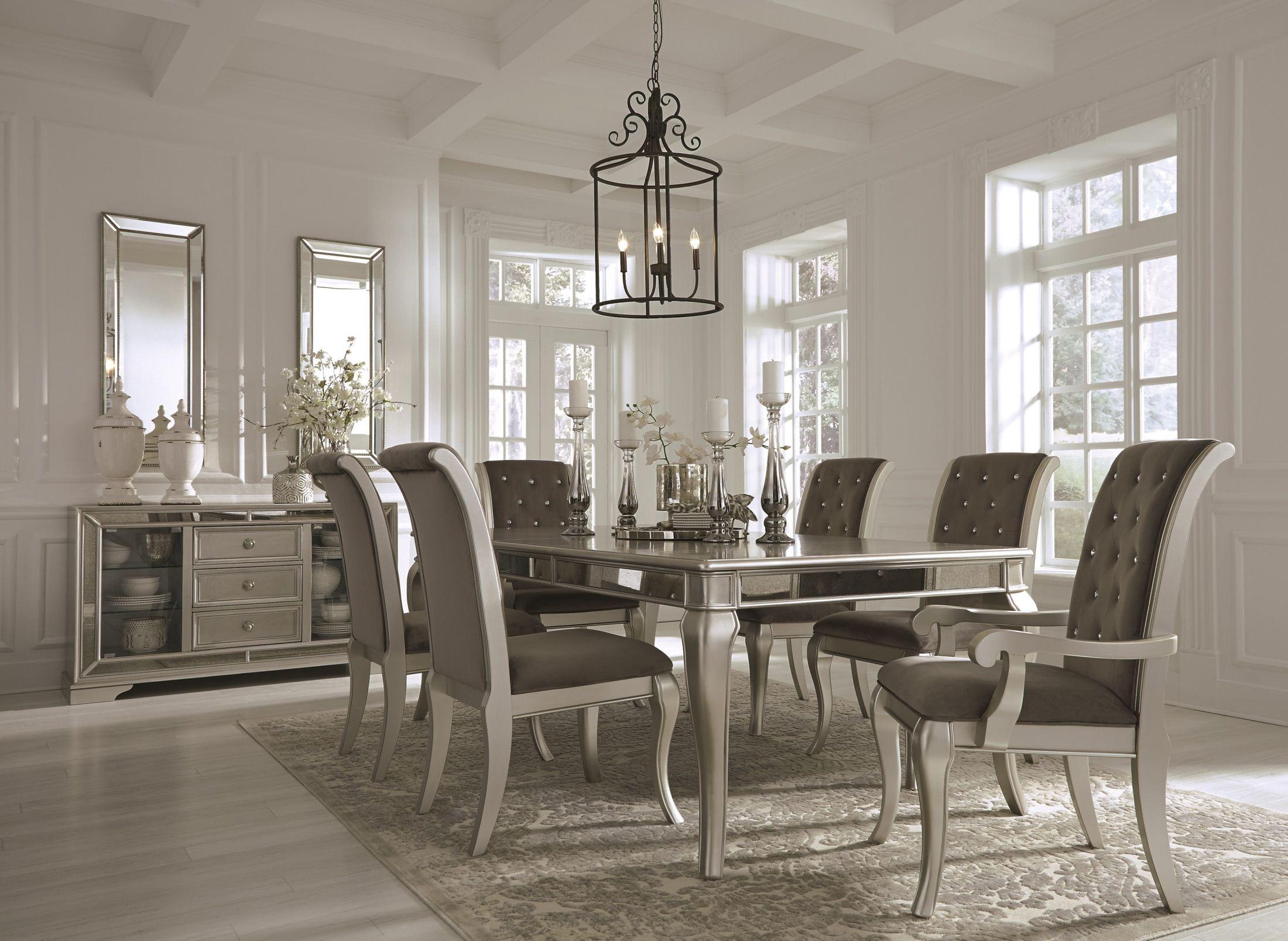 Birlanny Silver Rectangular Extendable Dining Room Set