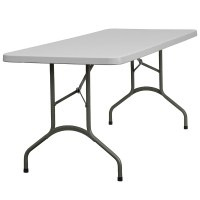 30''W x 72''L Granite White Plastic Folding Table from ...