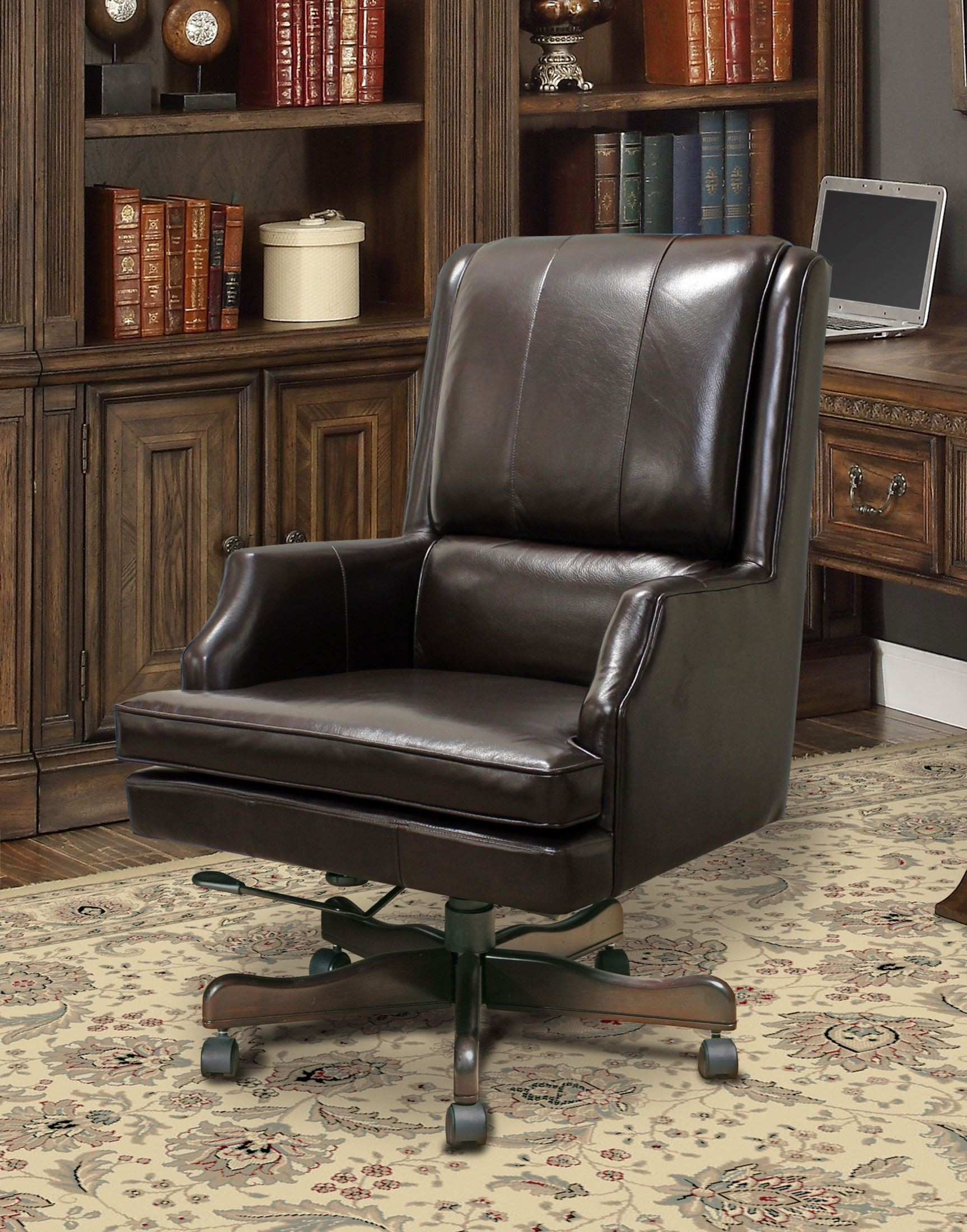 Brown Leather Desk Chair Sable Brown Leather Desk Chair From Parker Living