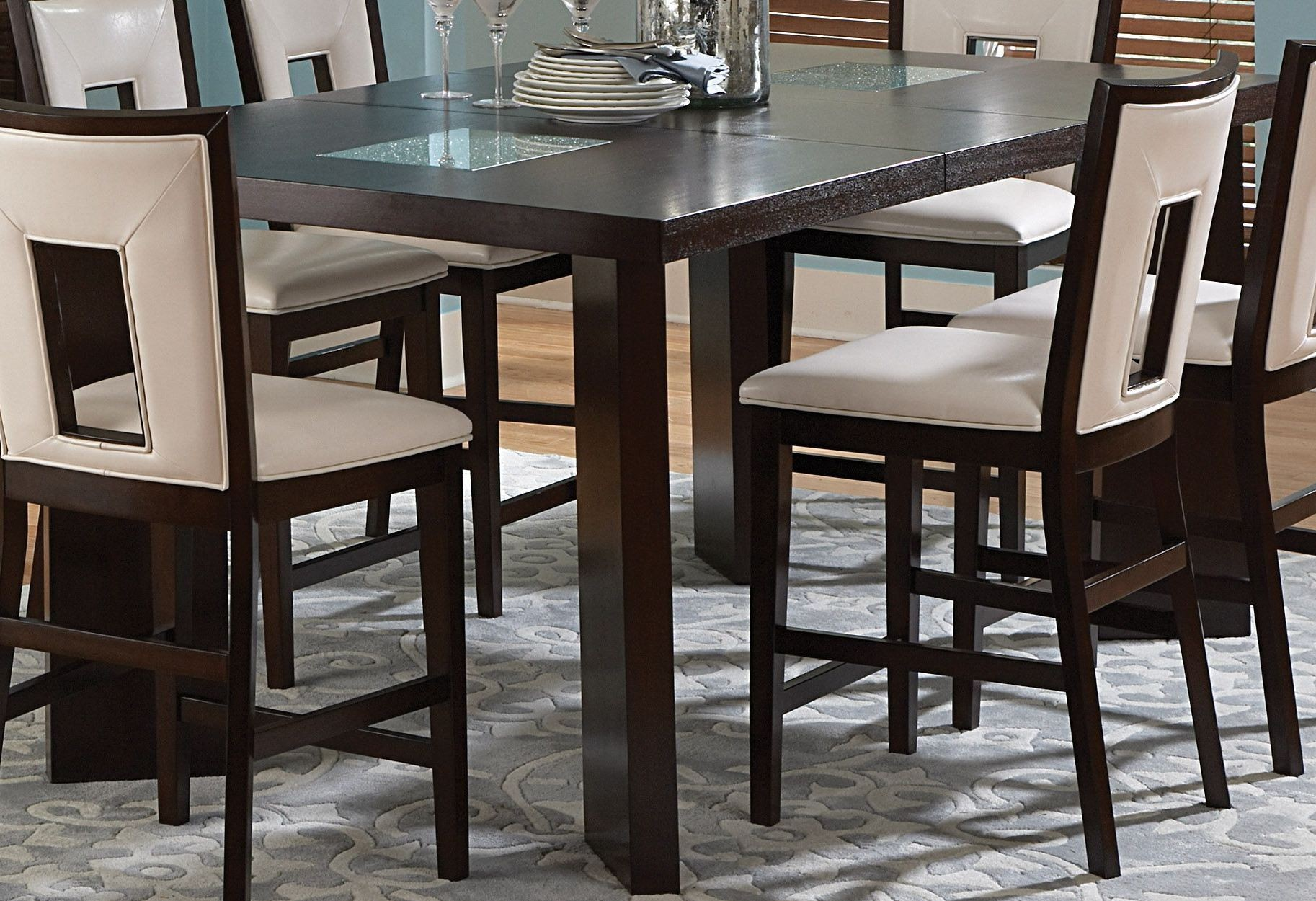 Delano Espresso Cherry Extendable Counter Height Dining