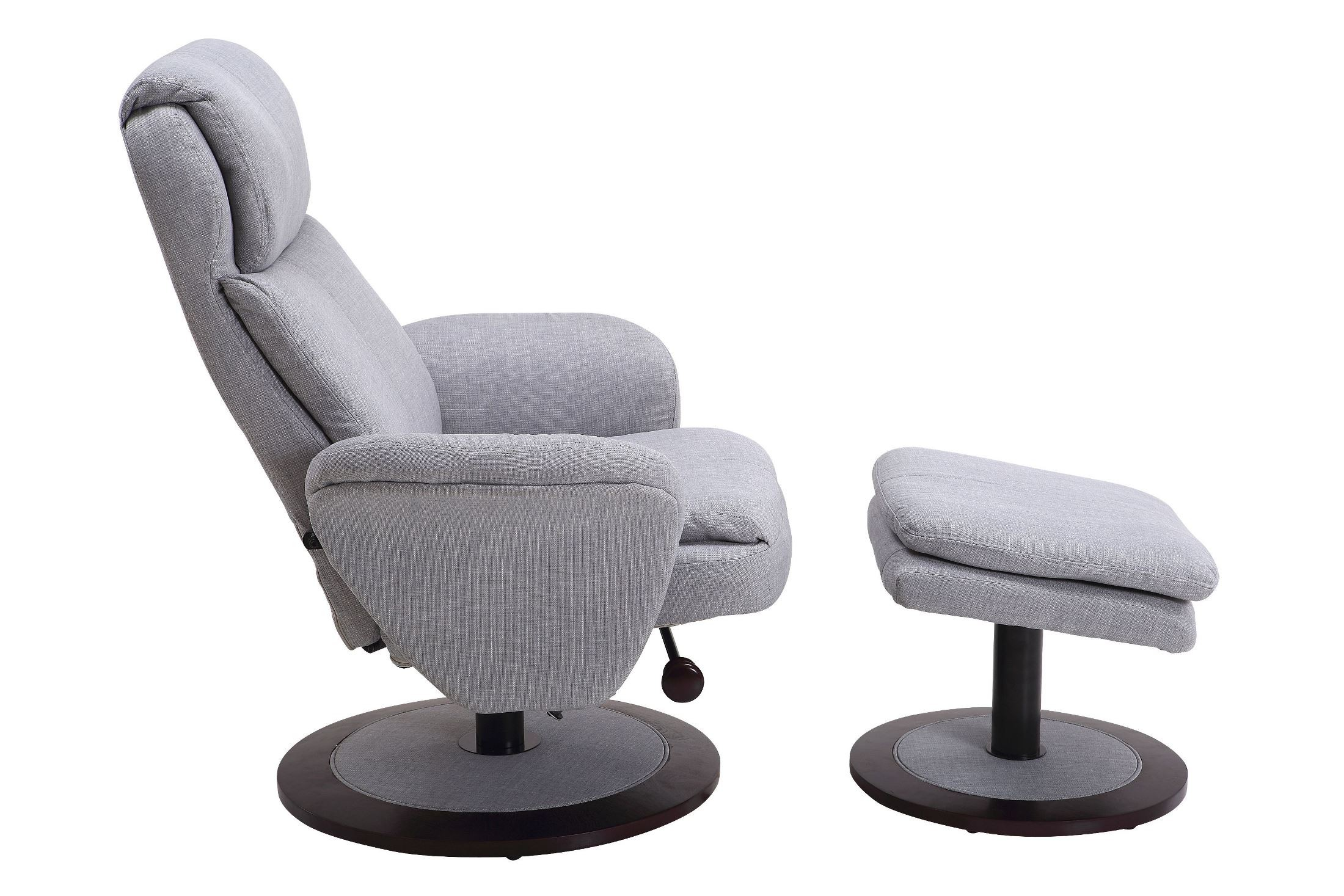 grey fabric swivel office chair wooden lounge chairs denmark light recliner with ottoman