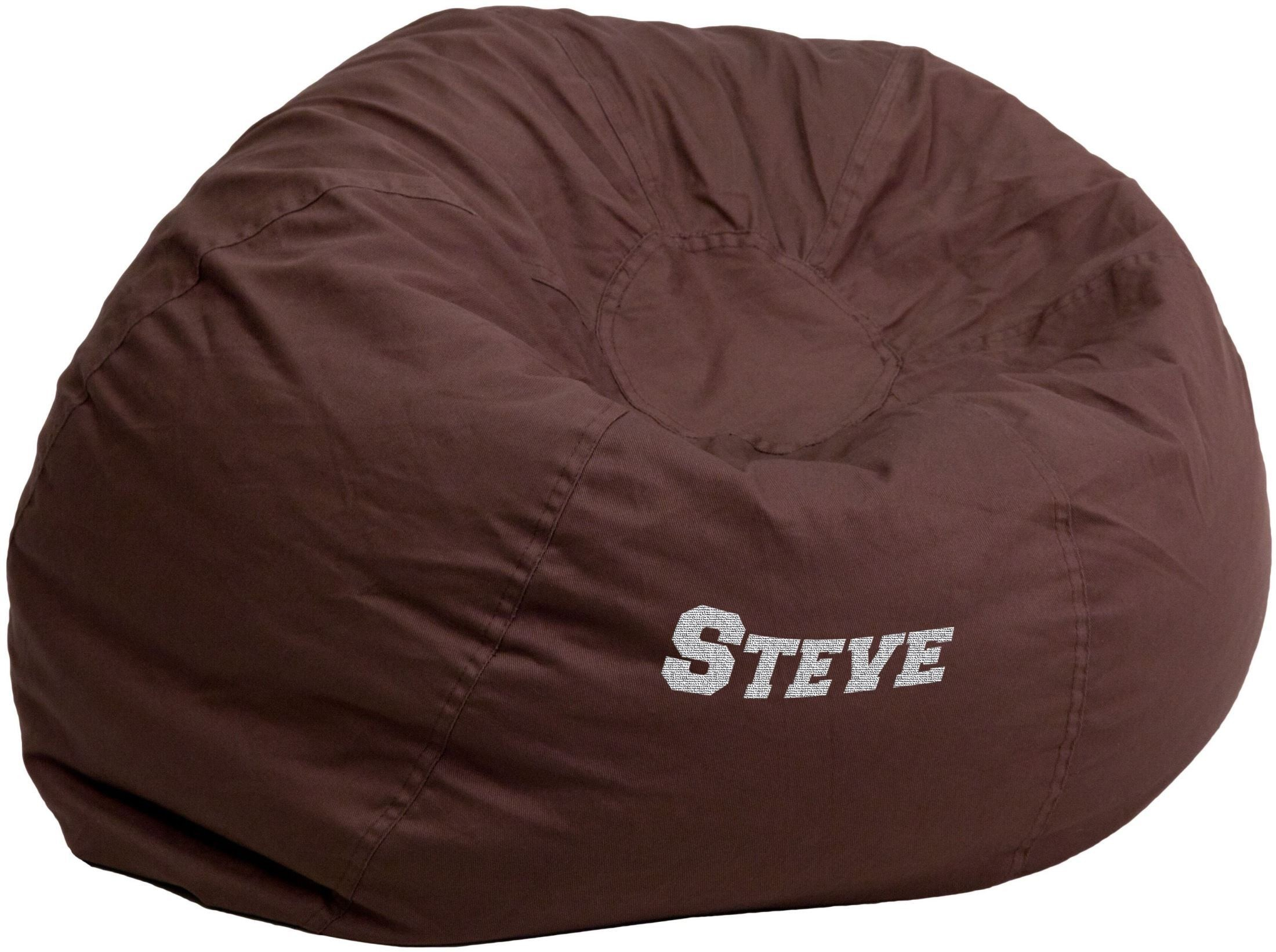 Brown Bean Bag Chair Personalized Oversized Solid Brown Bean Bag Chair With