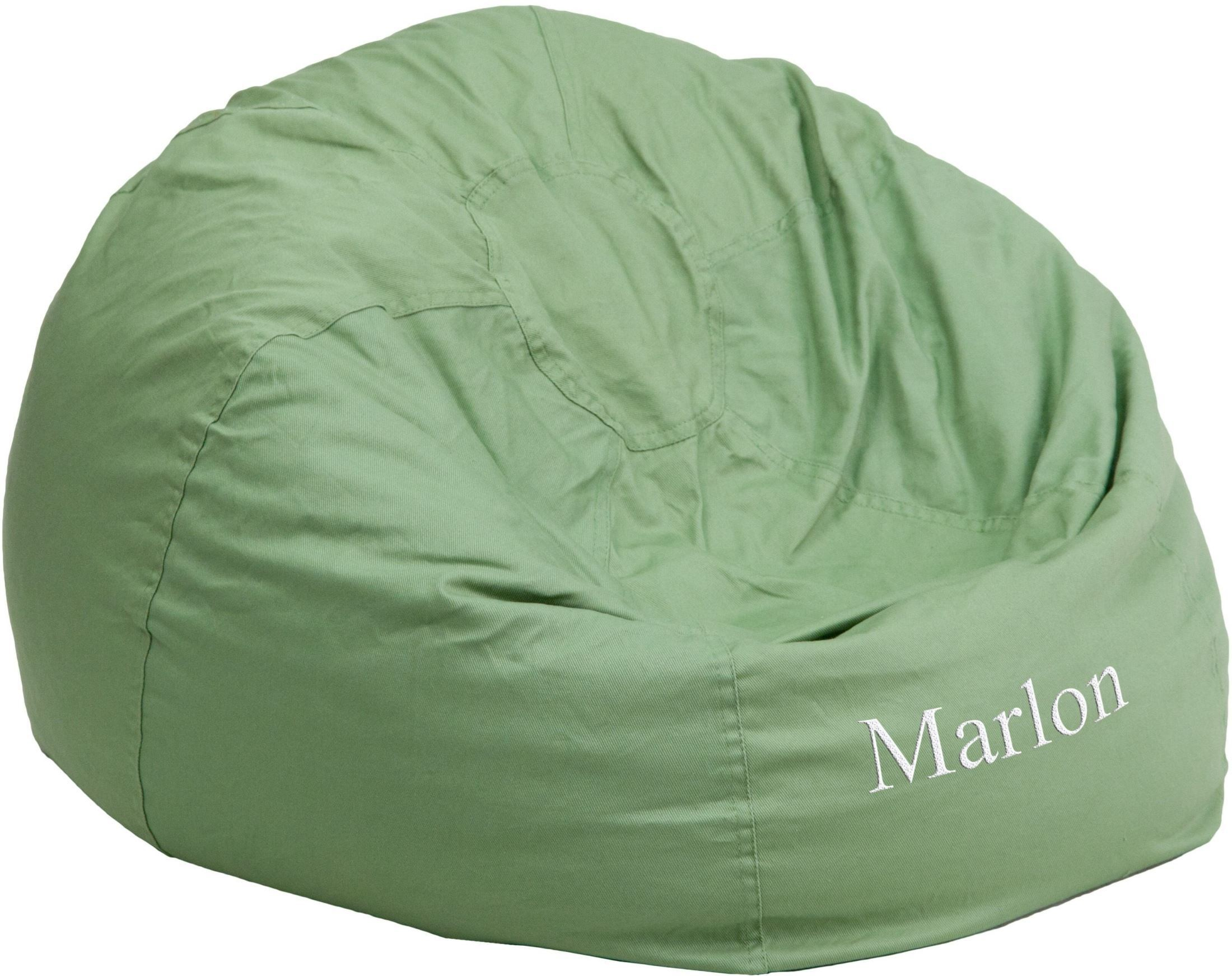 green bean bag chair kmart beach chairs personalized oversized solid with