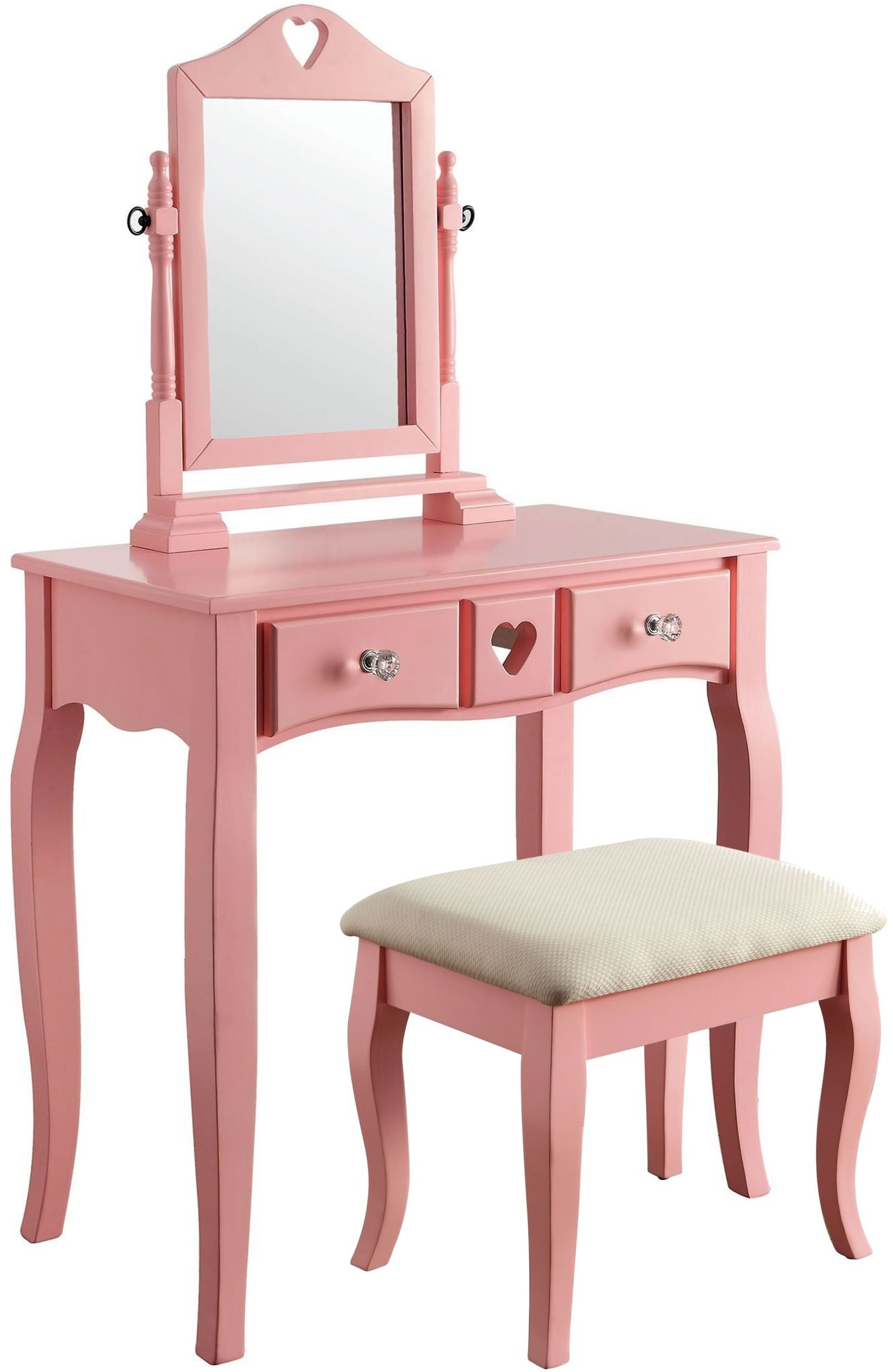 pink vanity chair chairs for sale ebay francine with stool from furniture of america