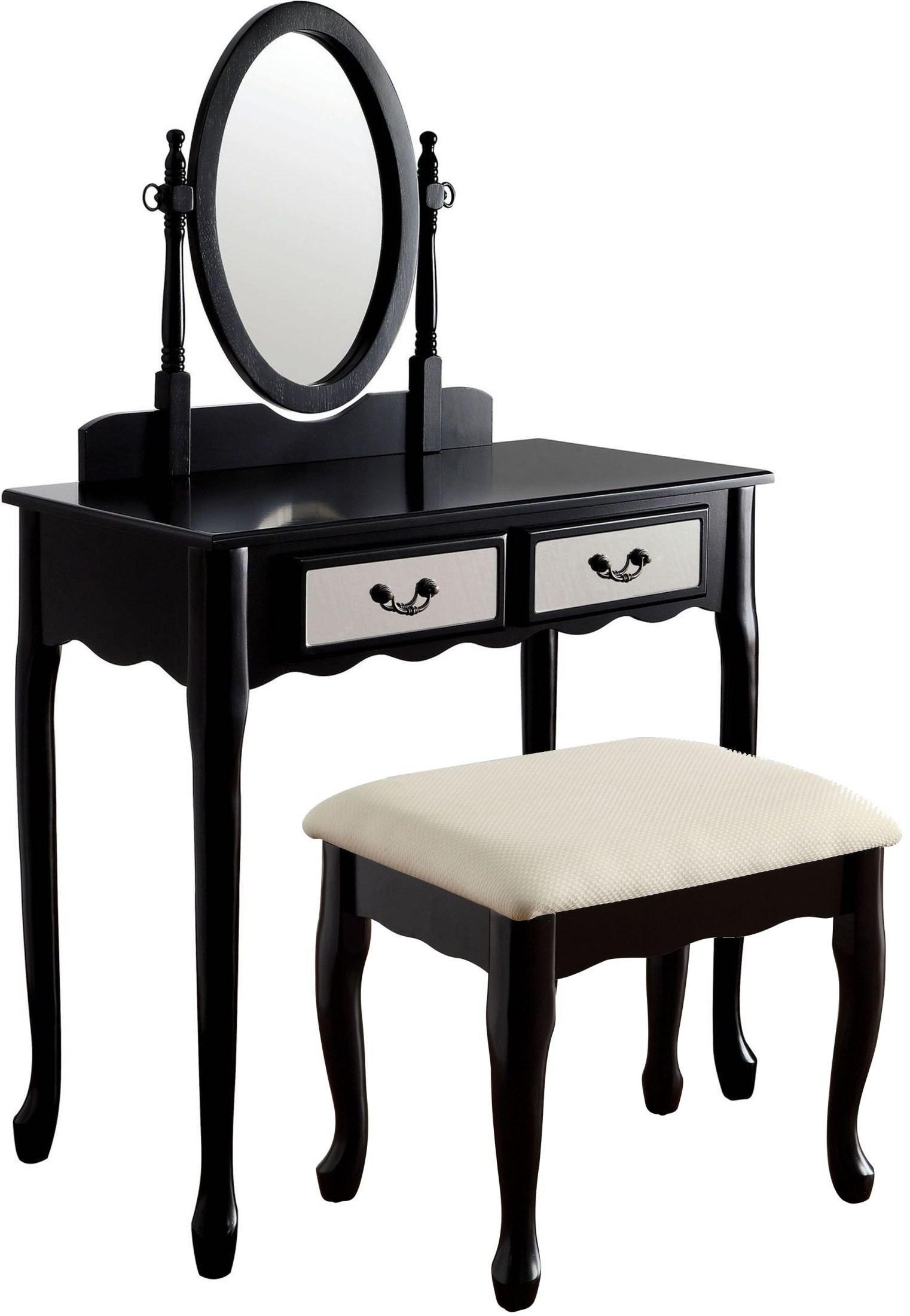 Adriana Black Vanity With Stool from Furniture of America