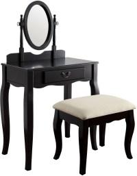 Samantha Black Vanity With Stool, CM-DK6433BK, Furniture ...