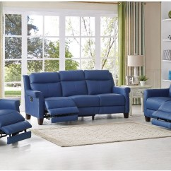 Recliner Living Room Set Target Chairs Dolce Blue Power Reclining From Amax Leather