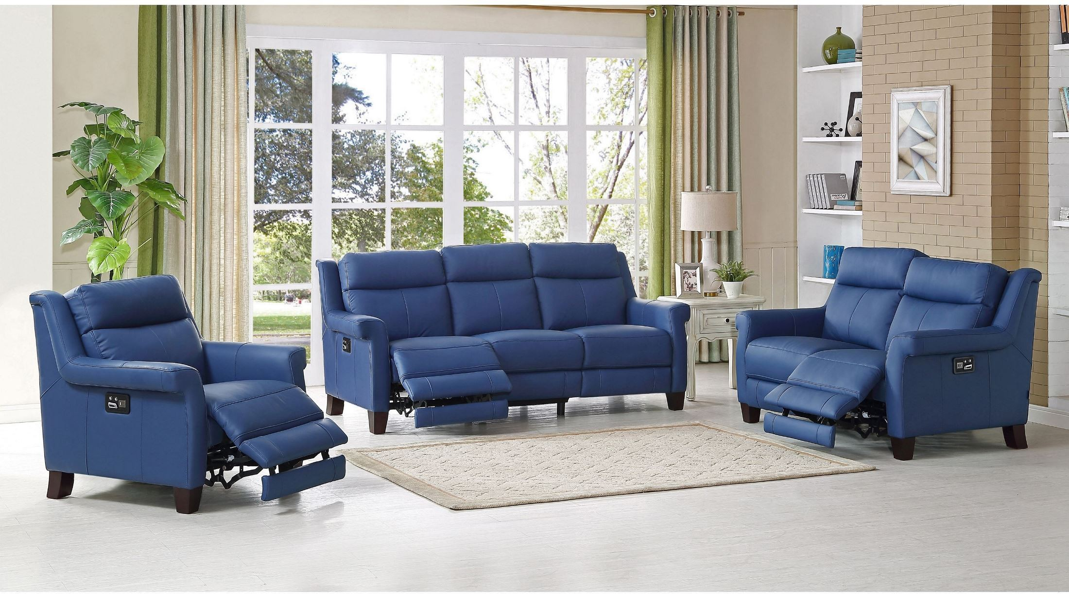 Blue Living Room Chairs Dolce Blue Power Reclining Living Room Set From Amax