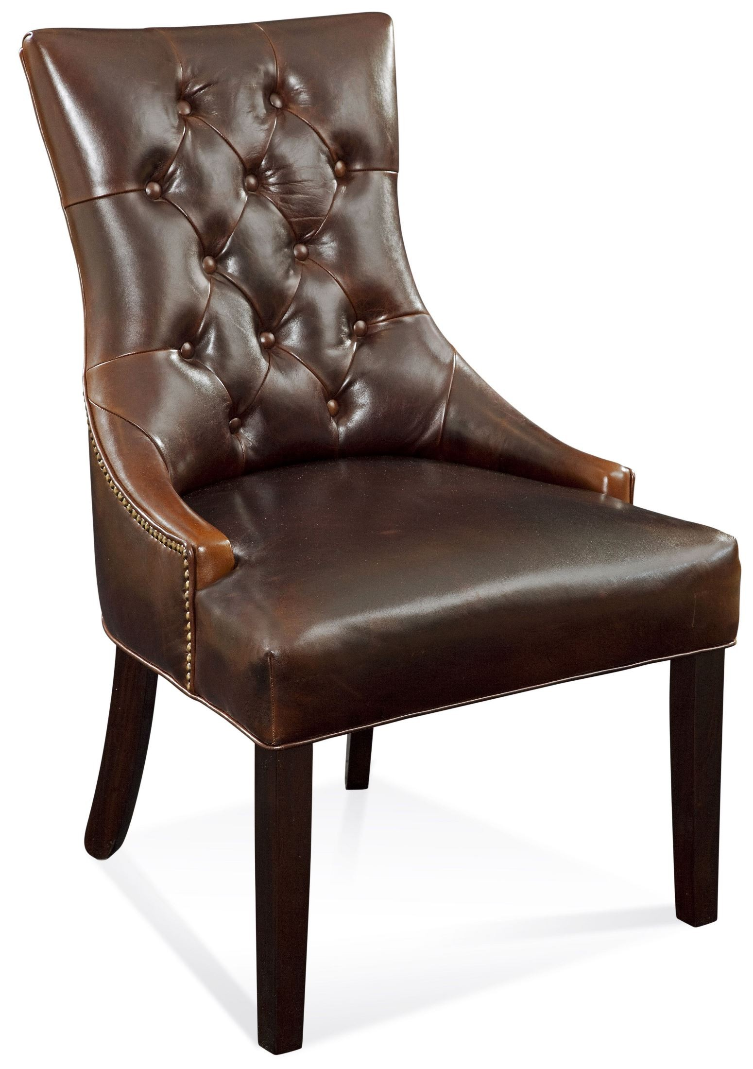 Leather Dining Chairs With Nailheads Fortnum Brown Leather Tufted Nailhead Parson Chair Dpch15