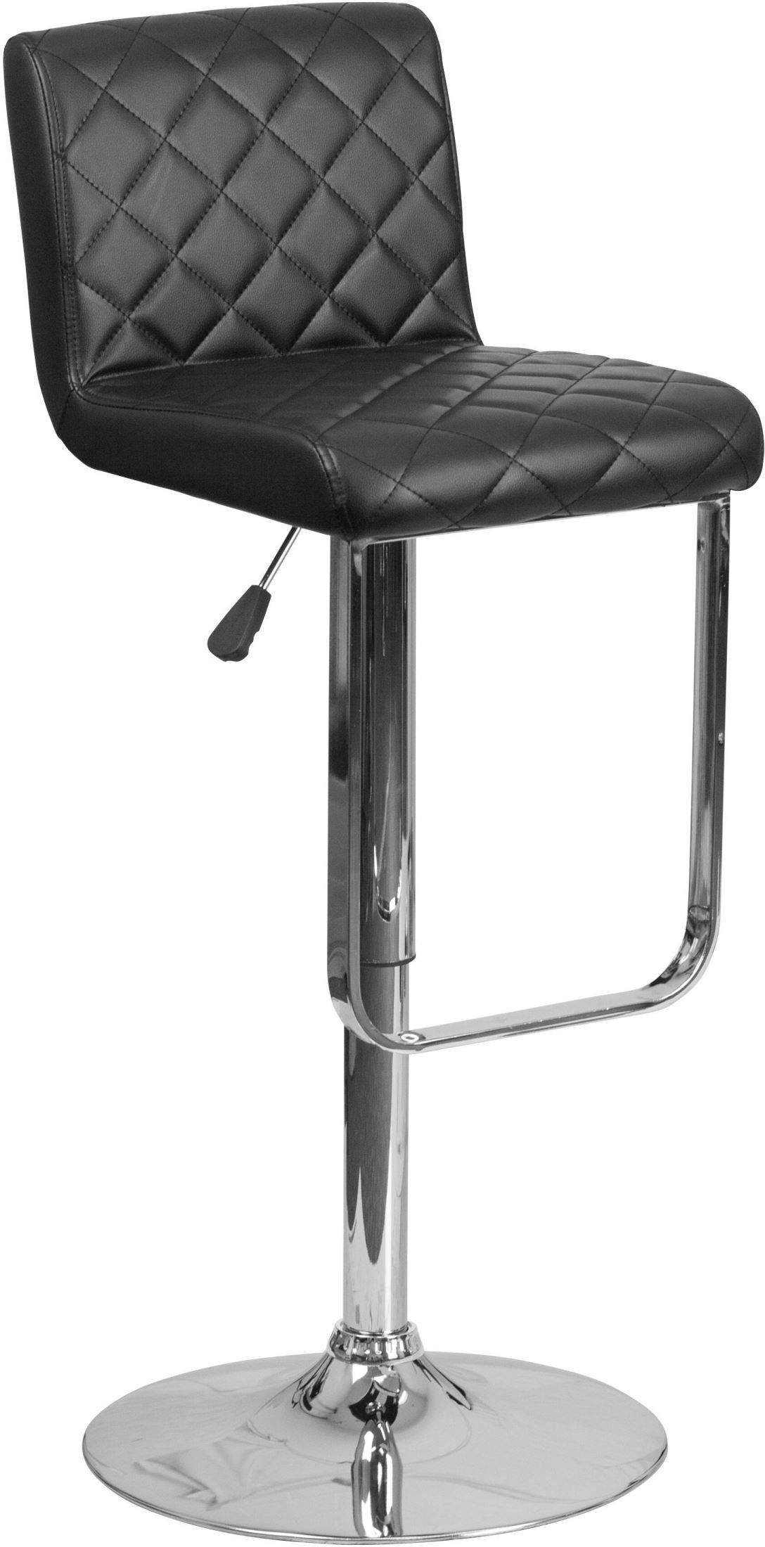 quilted swivel chair ergonomic knee design covering black vinyl adjustable
