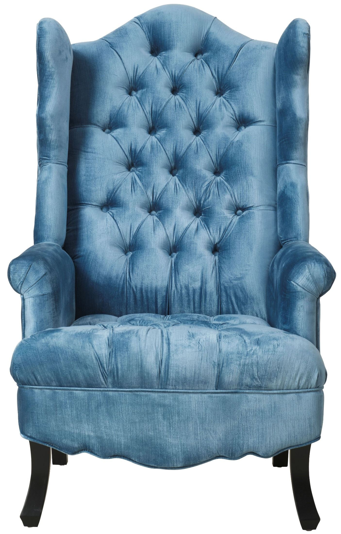 Blue Velvet Wingback Chair Madison Blue Velvet Wing Chair From Tov Tov A35 Blue