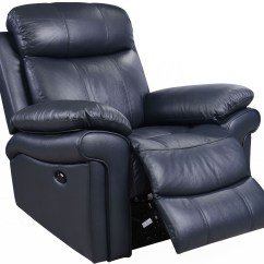 Blue Recliner Chair Eames Molded Plastic Replica Shae Joplin Leather Power Reclining From