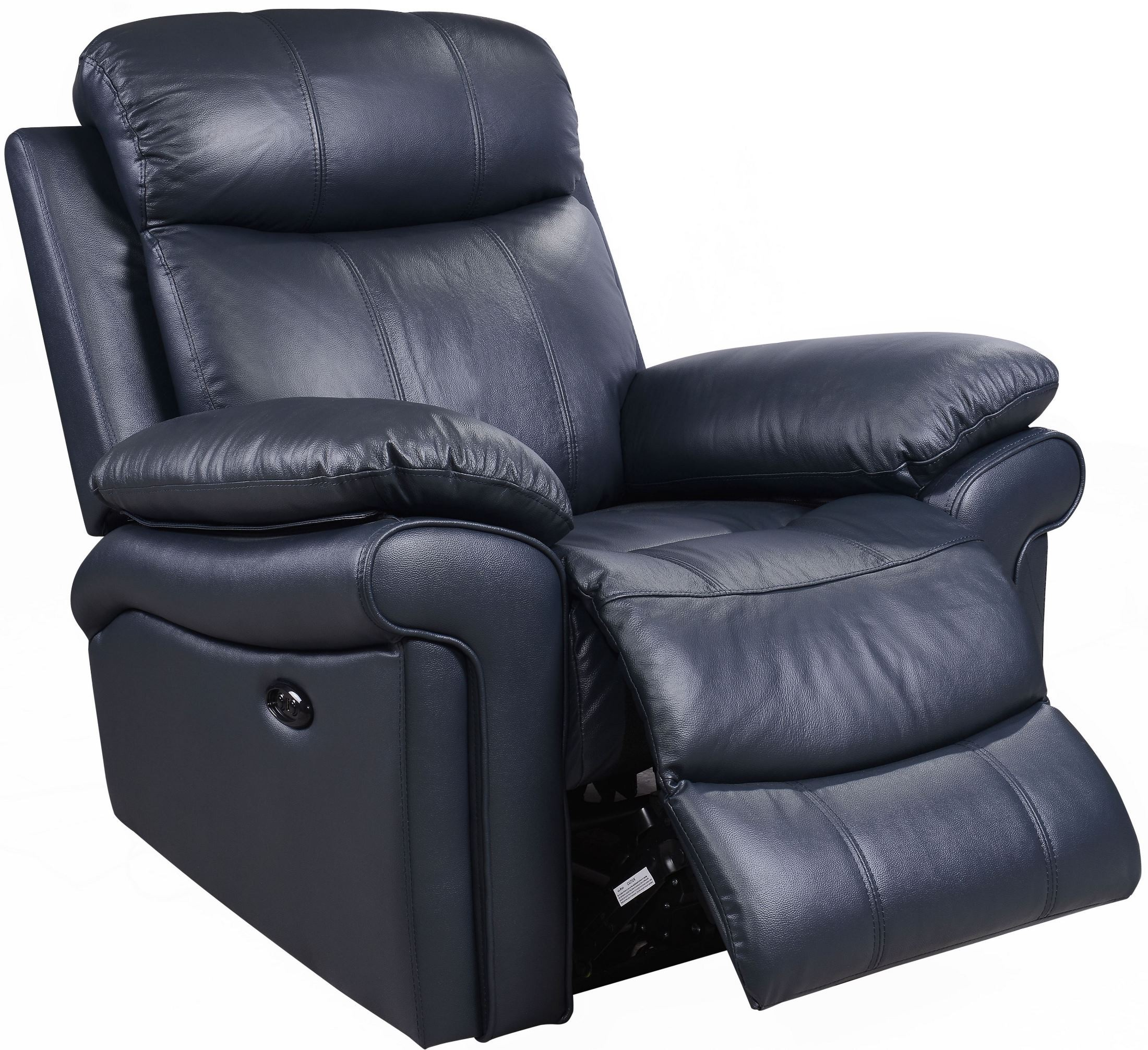 Leather Reclining Chair Shae Joplin Blue Leather Power Reclining Chair From