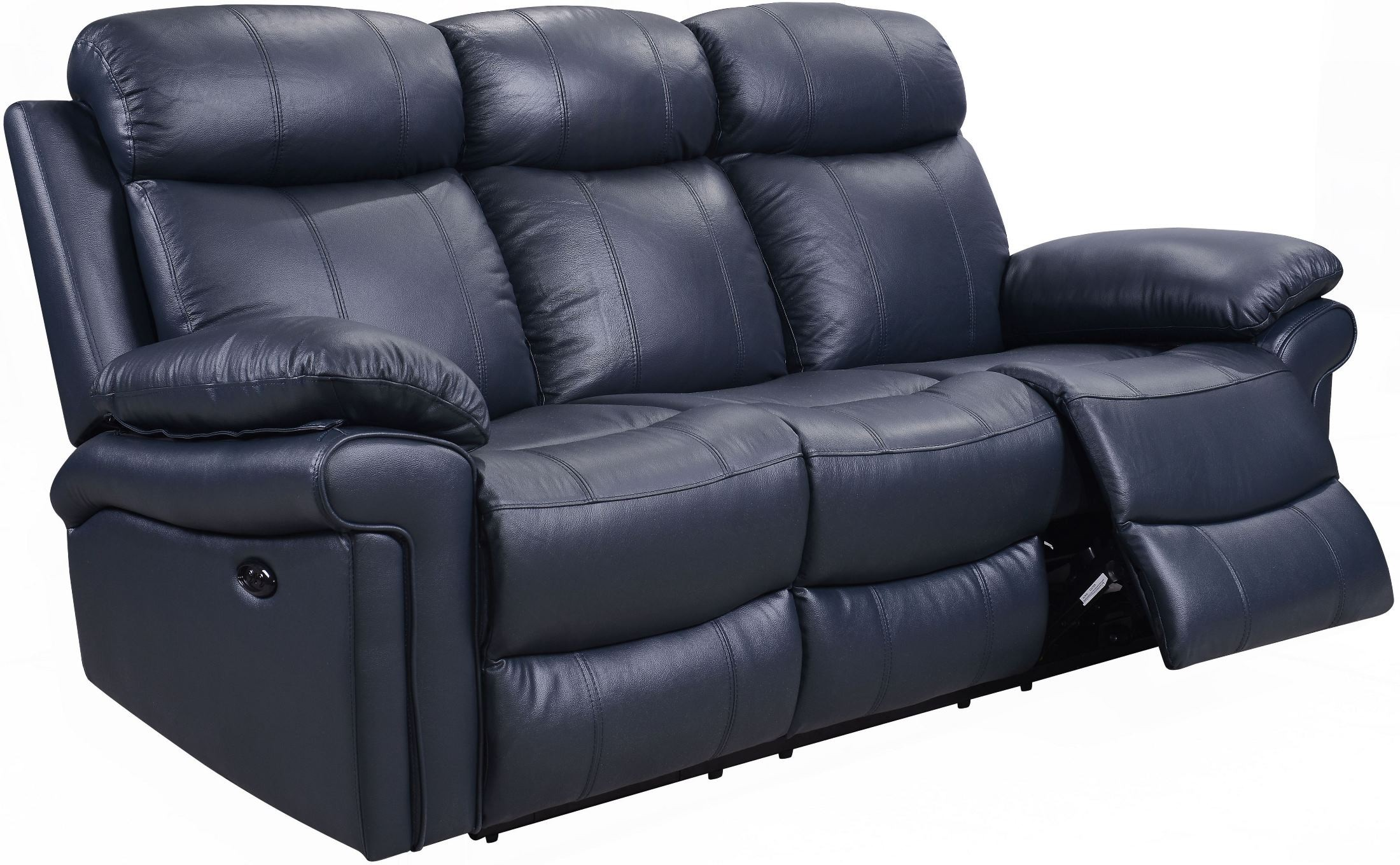 Shae Joplin Blue Leather Power Reclining Sofa from Leather