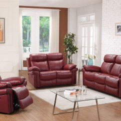 Rosso Red Leather 3 Piece Sofa Set How To Make A Hotel Bed More Comfortable Shae Joplin Power Reclining From Luxe