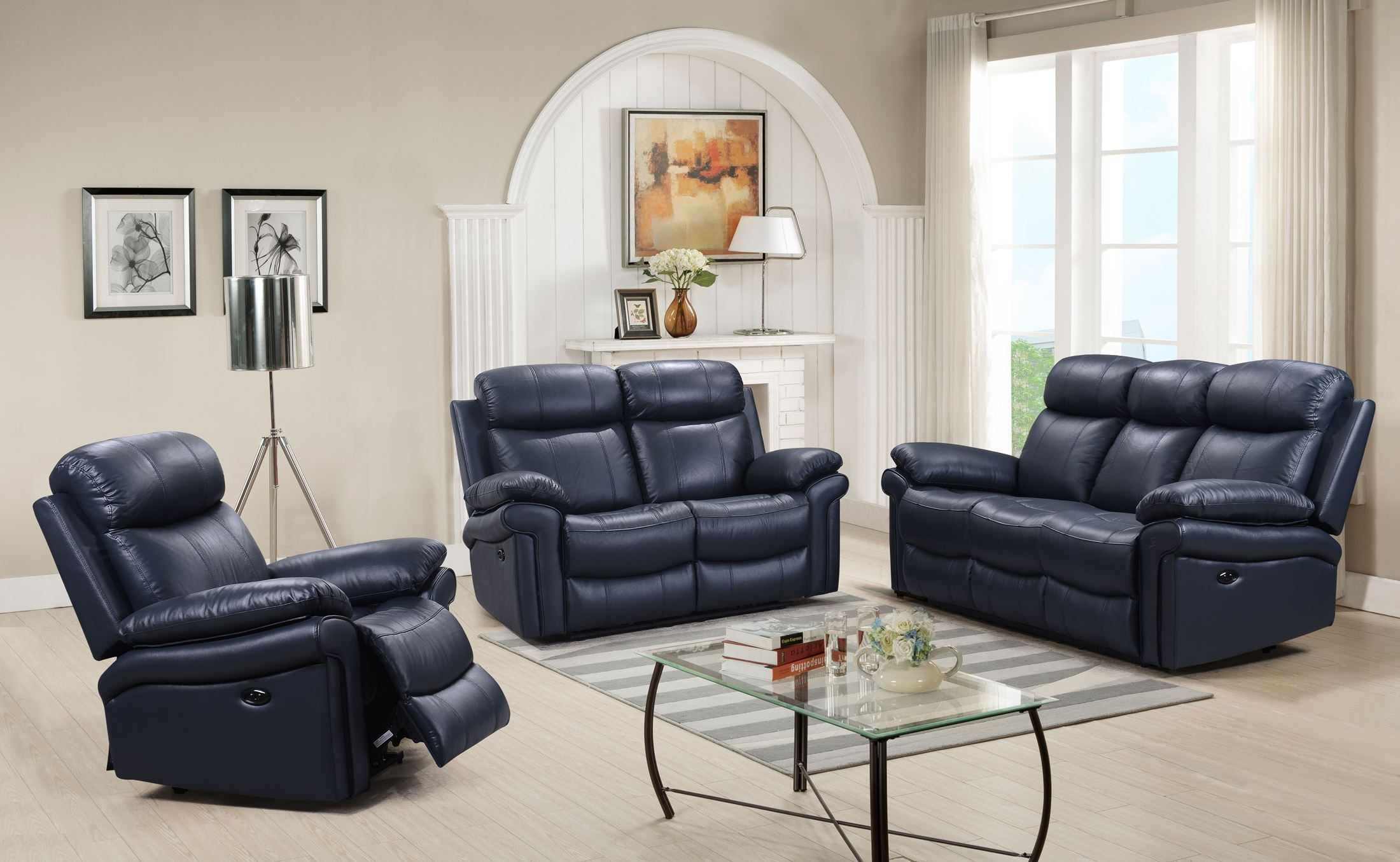 recliner living room set grey and tan shae joplin blue leather power reclining from