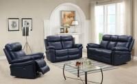 Shae Joplin Blue Leather Power Reclining Living Room Set ...