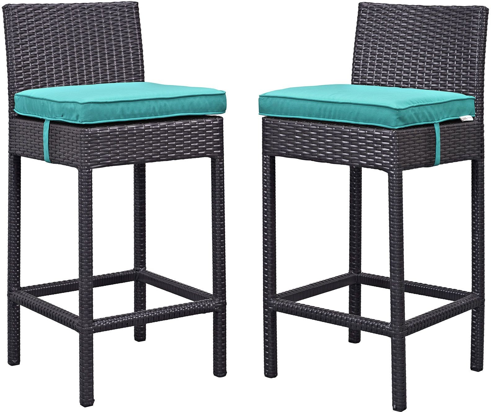 turquoise patio chairs desk chair stationary lift espresso outdoor bar stool set of 2