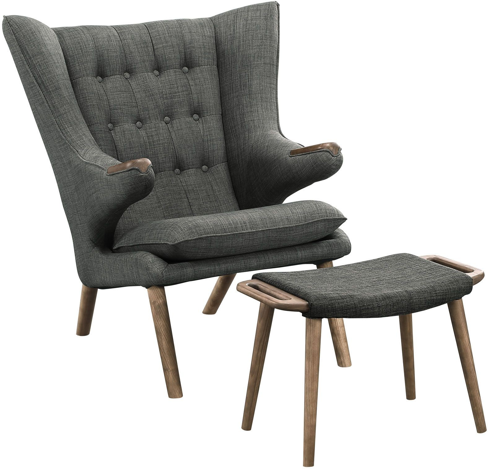Grey Lounge Chair Bear Walnut Gray Lounge Chair With Ottoman From Renegade