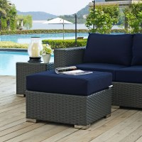 Sojourn Canvas Navy Outdoor Patio Sunbrella Ottoman from ...