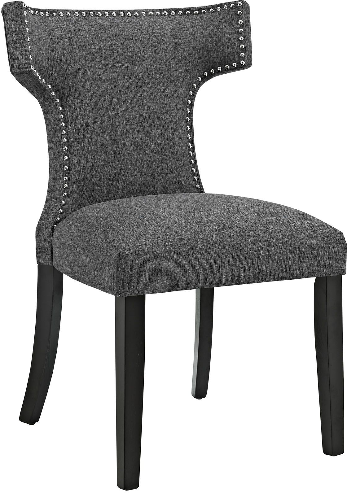 Grey Upholstered Chair Curve Gray Upholstered Dining Chair Eei 2221 Gry