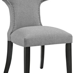 Grey Upholstered Chair Stool Ladder Curve Light Gray Dining From Renegade