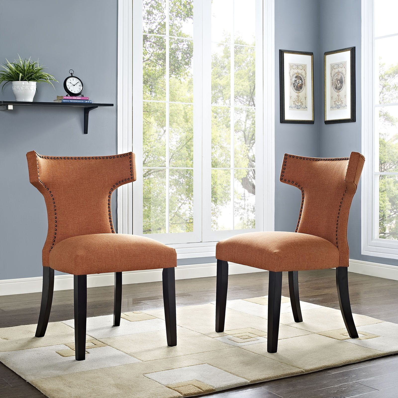 orange upholstered chair big rocking in texas curve dining from renegade