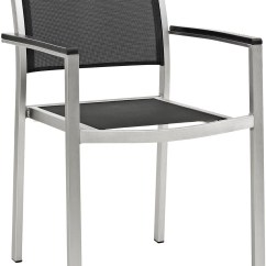 Black Metal Patio Chairs Tall Chair For Standing Desk Shore Silver Aluminum Outdoor Dining