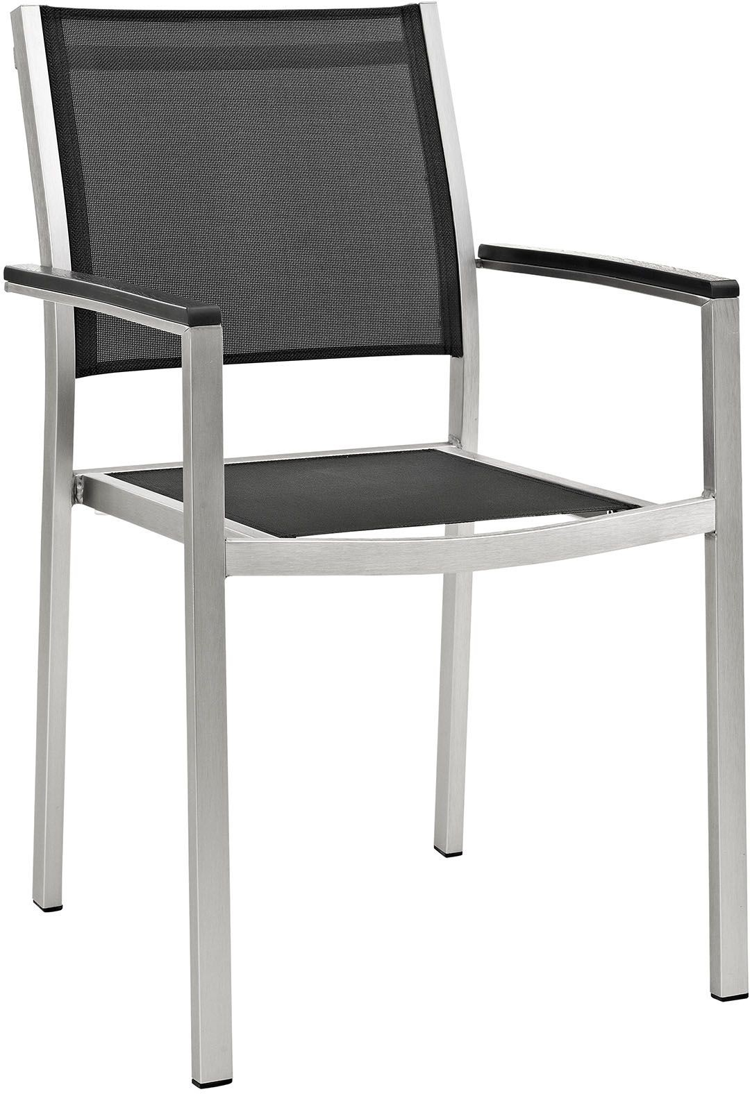 Black Metal Patio Chairs Shore Silver Black Aluminum Outdoor Patio Dining Chair