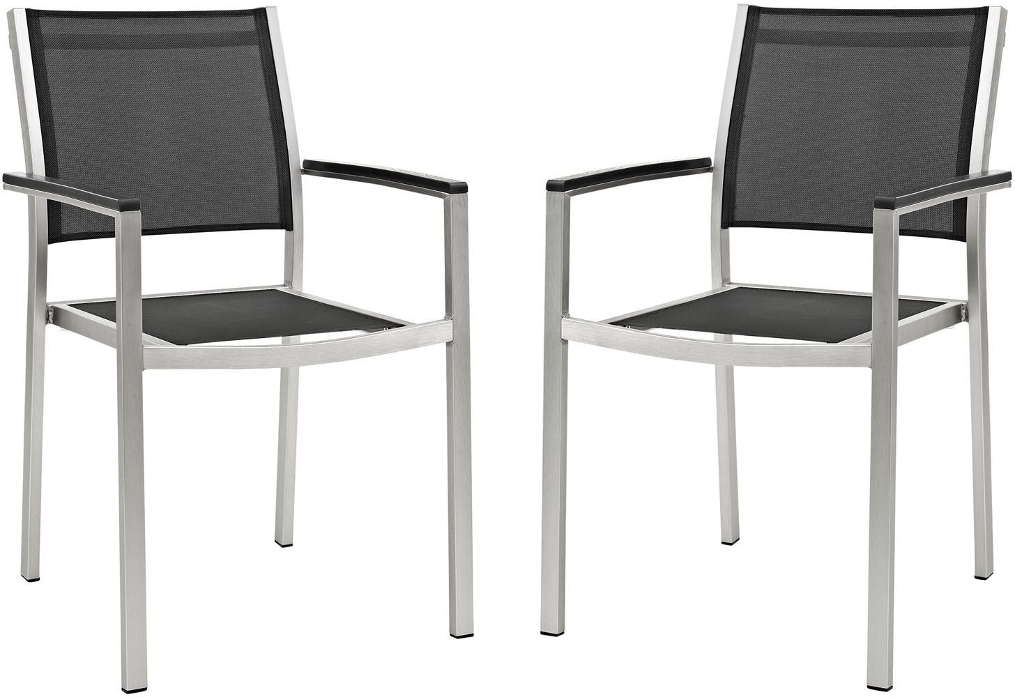 Black Metal Patio Chairs Shore Silver Black Aluminum Outdoor Patio Dining Chair Set