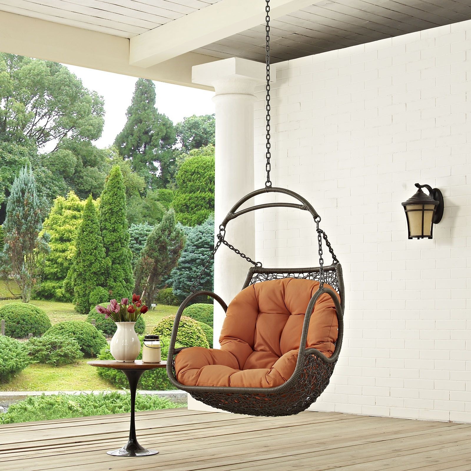 outdoor swing chair with stand old fashioned lawn chairs arbor orange patio without eei