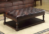 Ginney Toberlone Leather Tufted Shelf Cocktail Table from ...