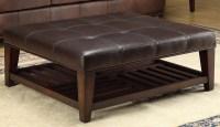 Hayton Burundy Leather Tufted Leg Shelf Cocktail Table ...