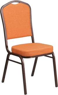 HERCULES Series Crown Back Orange Fabric Stacking Banquet ...