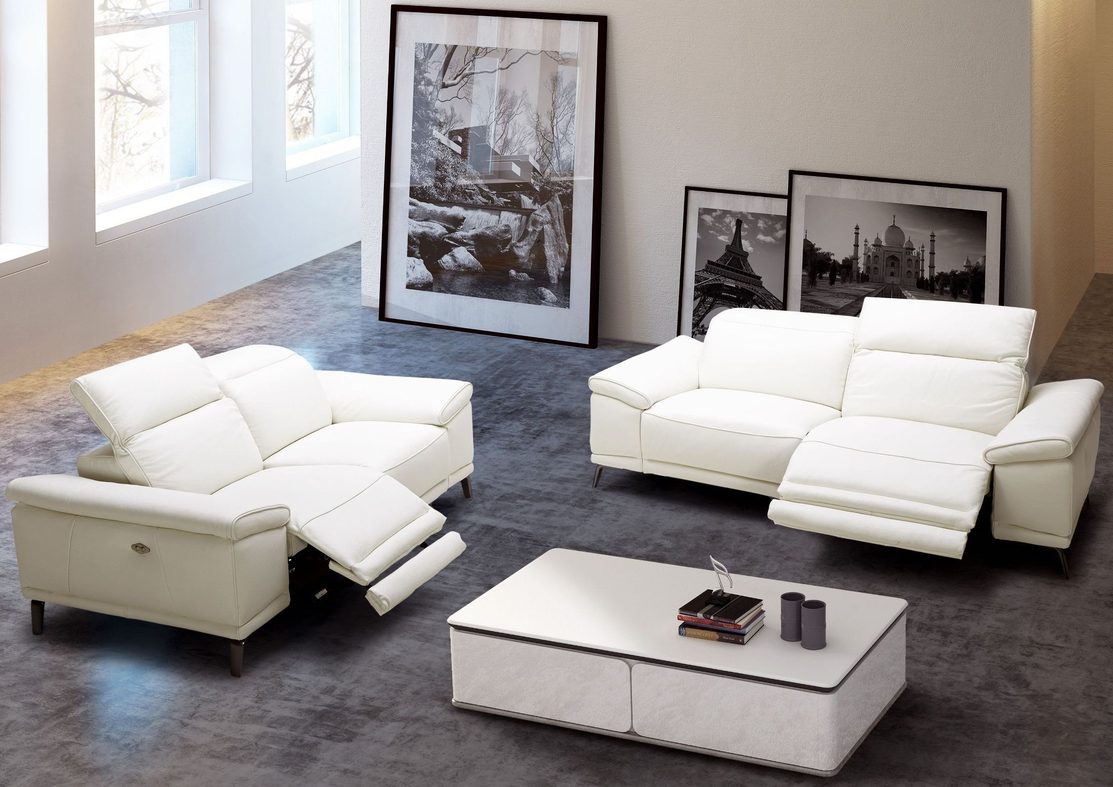 white leather chairs for living room fishing chair with canopy gaia power reclining set 18253