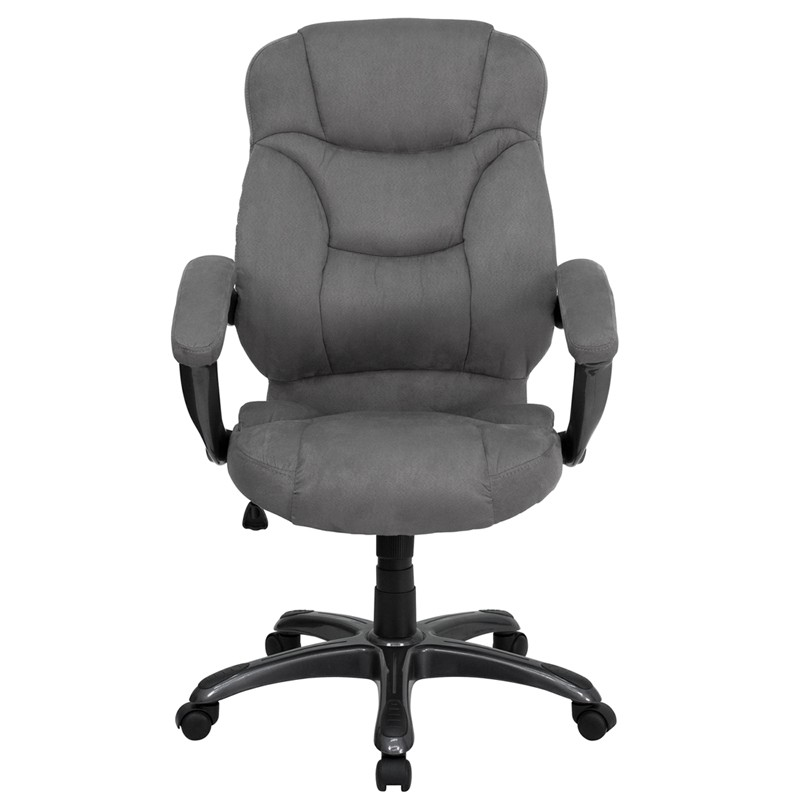 High Back Gray Upholstered Contemporary Office Chair from