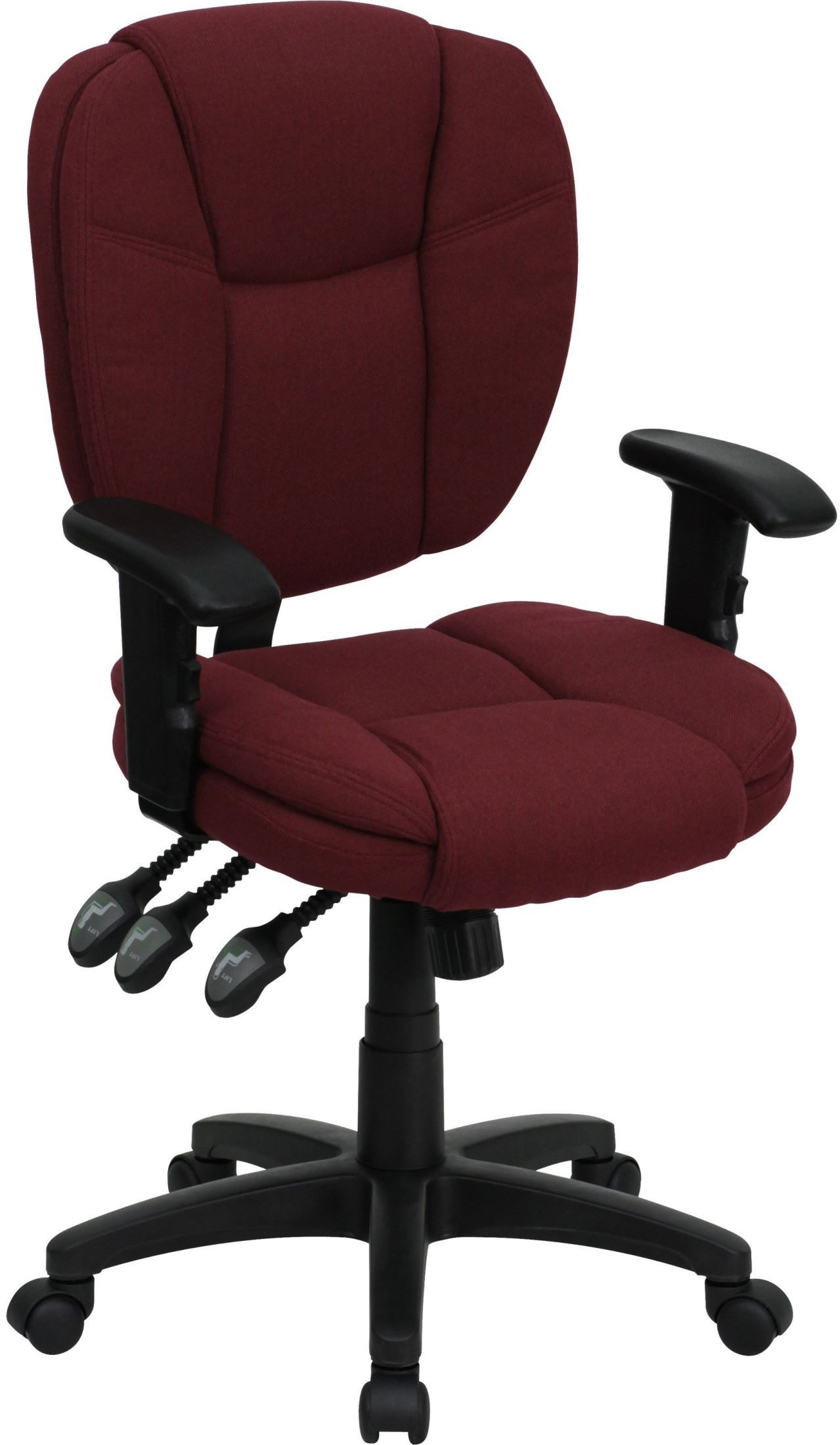 Burgundy Office Chair Burgundy Multi Functional Ergonomic Task Chair W Arms