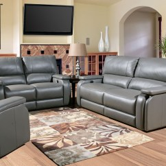 Recliner Sofa Set 3 2 1 Contemporary Grey Corner Grisham Heron Dual Power Reclining Living Room From