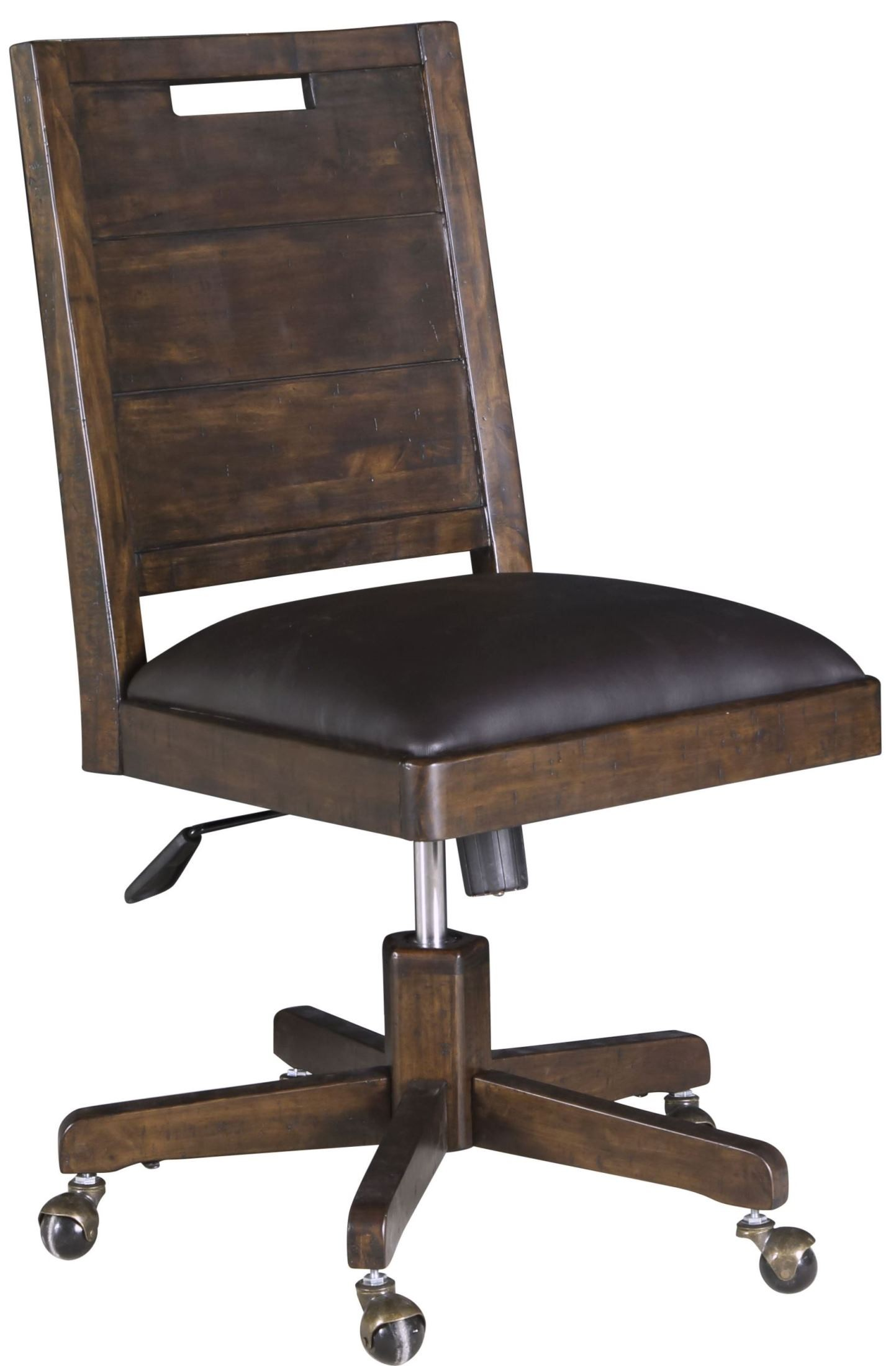Pine Hill Rustic Pine Upholstered Swivel Chair from