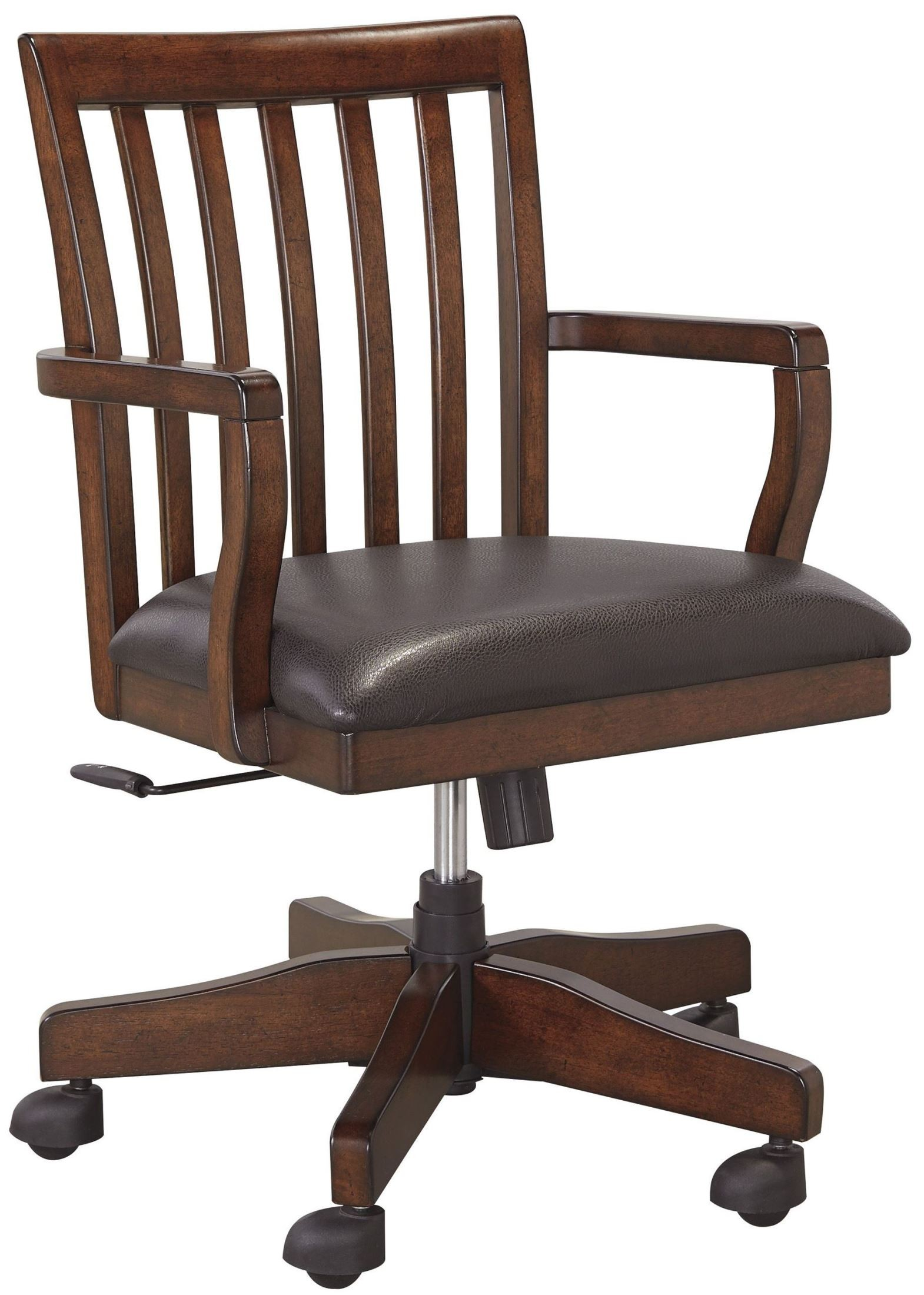 swivel chair brown party decorations covers wassner dark home office desk from