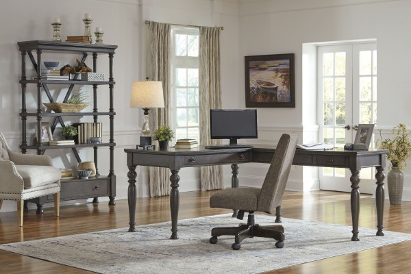 dark grey home office Devenstead Dark Gray Home Office L-Shaped Home Office Set from Ashley | Coleman Furniture