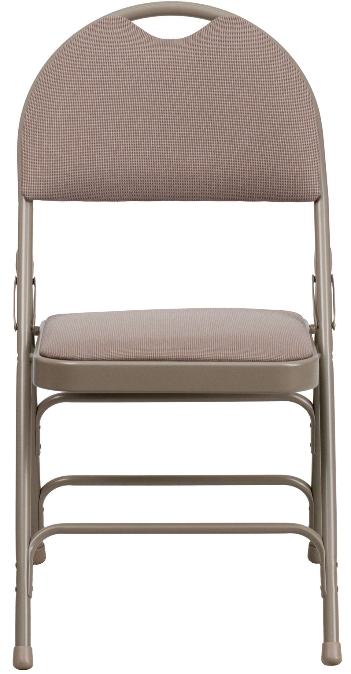 Fabric Folding Chairs Hercules Series Ultra Premium Beige Fabric Folding Chair