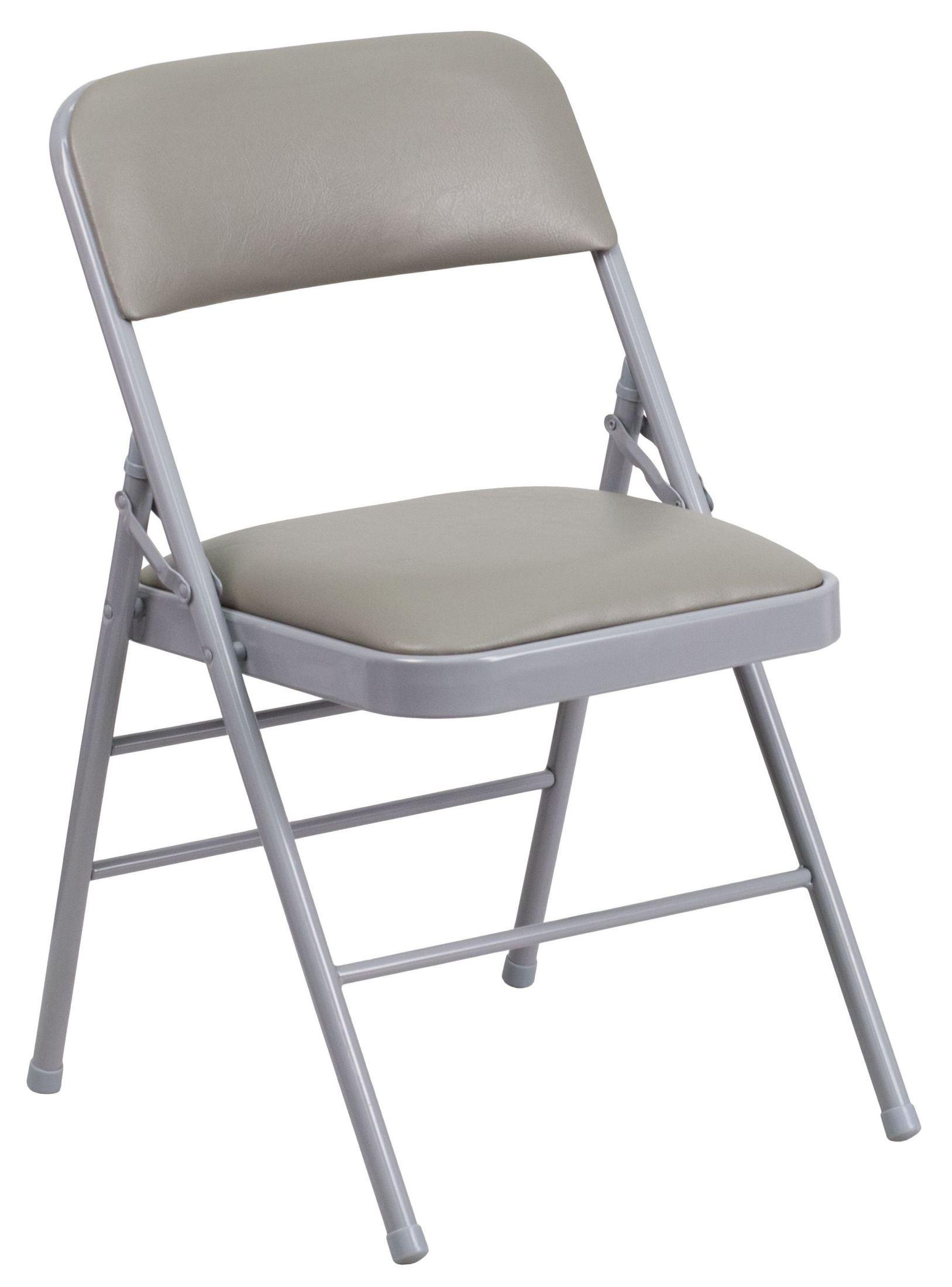 hercules folding chair mid century modern wire series triple braced gray vinyl metal