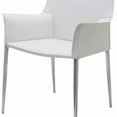 Dining Chair With Armrest Rainforest Spacesaver High Colter White Leather Arm Hgar399 Nuevo