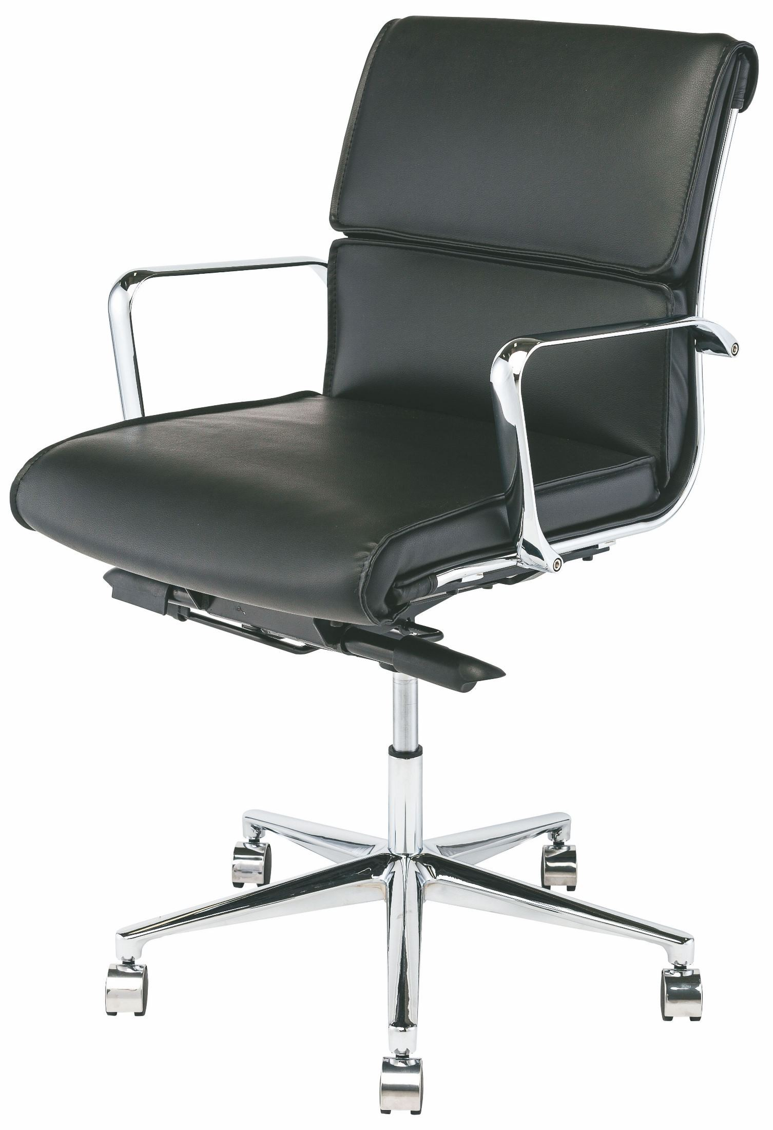 Lucia Black and Silver Metal Low Back Office Chair from