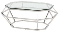 Diamond Clear Glass Coffee Table, HGSX183, Nuevo