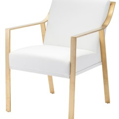 Gold Dining Chairs Highwood Adirondack Chair Reviews Valentine White Naugahyde And Metal From