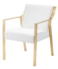 Valentine White Naugahyde and Gold Metal Dining Chair from ...