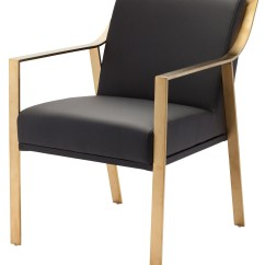 Gold Dining Chairs Round Wicker Chair Cushions Valentine Black Naugahyde And Metal From
